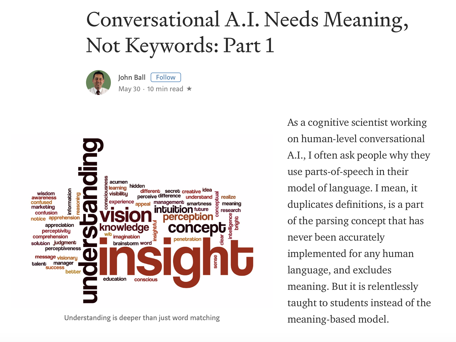 Conversational A.I. Needs Meaning, Not Keywords- Part 1