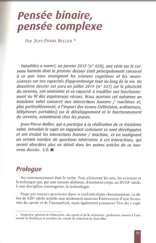 Futuribles-433-nov-dec2019 -19-26-Pensée binaire, pensée complexe par Jean-Pierre BELLIER